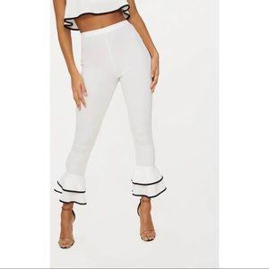 PrettyLittleThing PLT White Frill Hem Pants